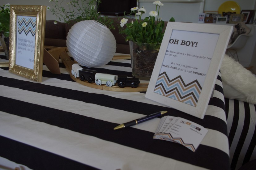 Gold Black and Blue Boys Baby Shower with Chevron Accents