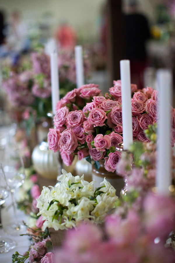 lots of flowers wedding centrepiece DIY candle pink yellow