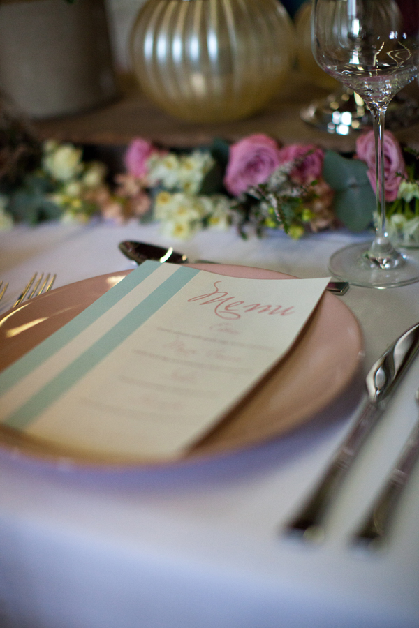 vintage plate pink retro wedding event table menu card pink graphic