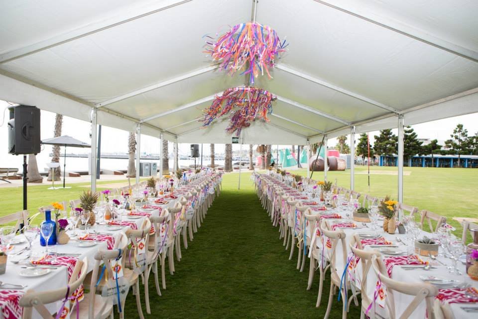 14 ribbon chandelier dancing in wind marquee longest lunch