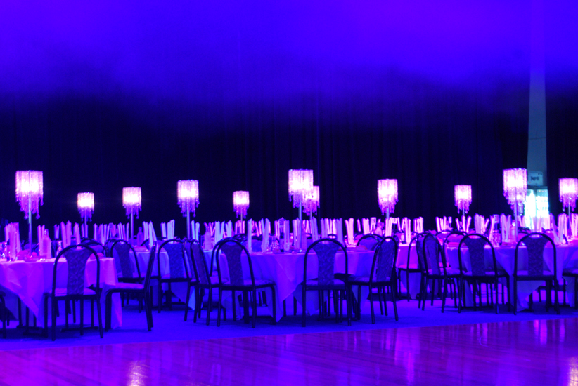 Corporate Dinner Draping Table Centrepieces