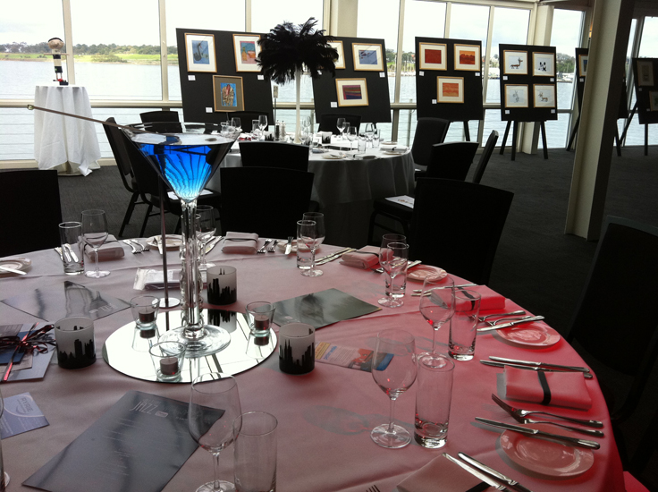 Blue and White Gala Dinner Martini Glass Centrepiece Corporate Event Charity Event