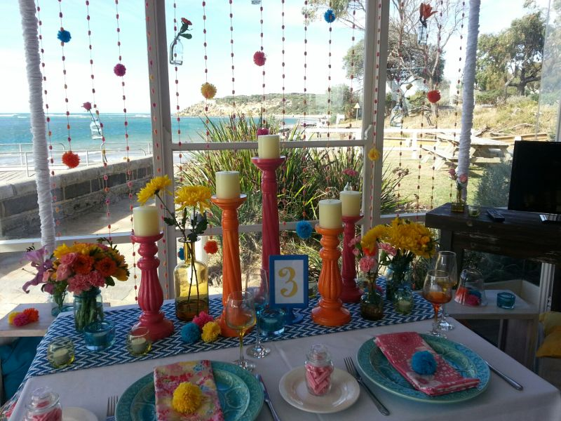 Bright Colours and Pom Pom Table Setting  (2)