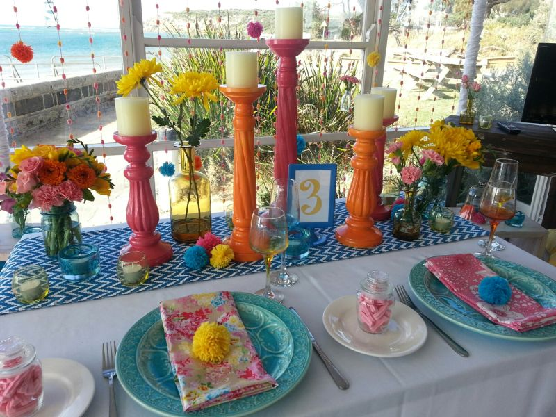 Bright Colours and Pom Pom Table Setting  (3)