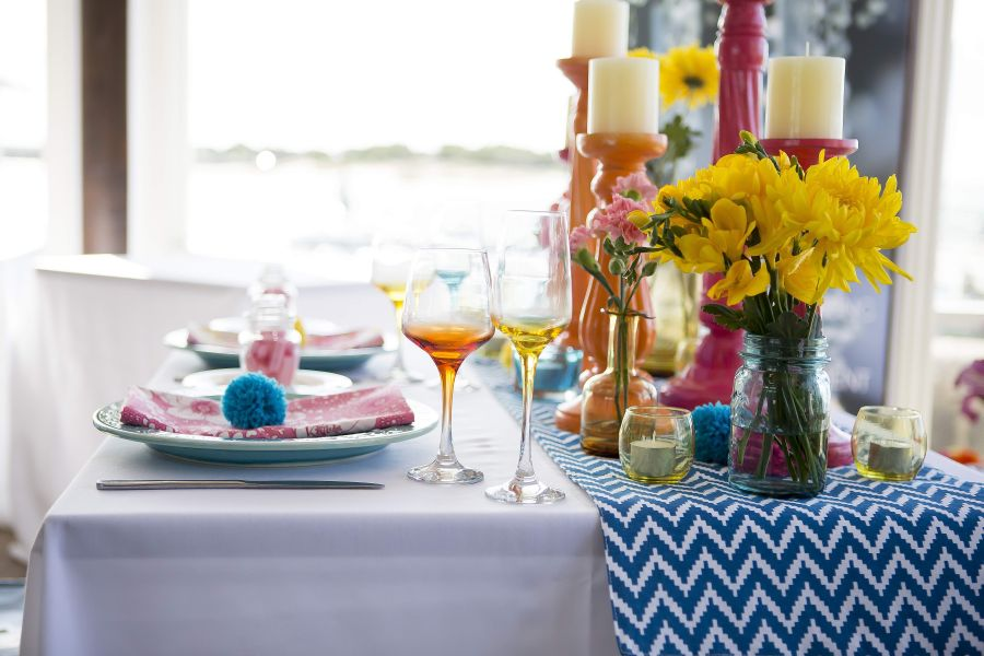 Bright Colours and Pom Pom Table Setting  (5)