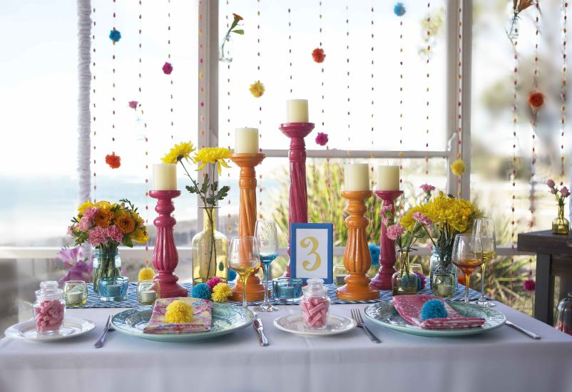 Bright Colours and Pom Pom Table Setting  (7)
