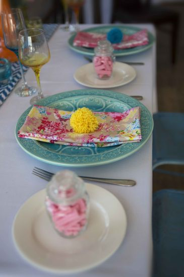 Bright Colours and Pom Pom Table Setting  (8)