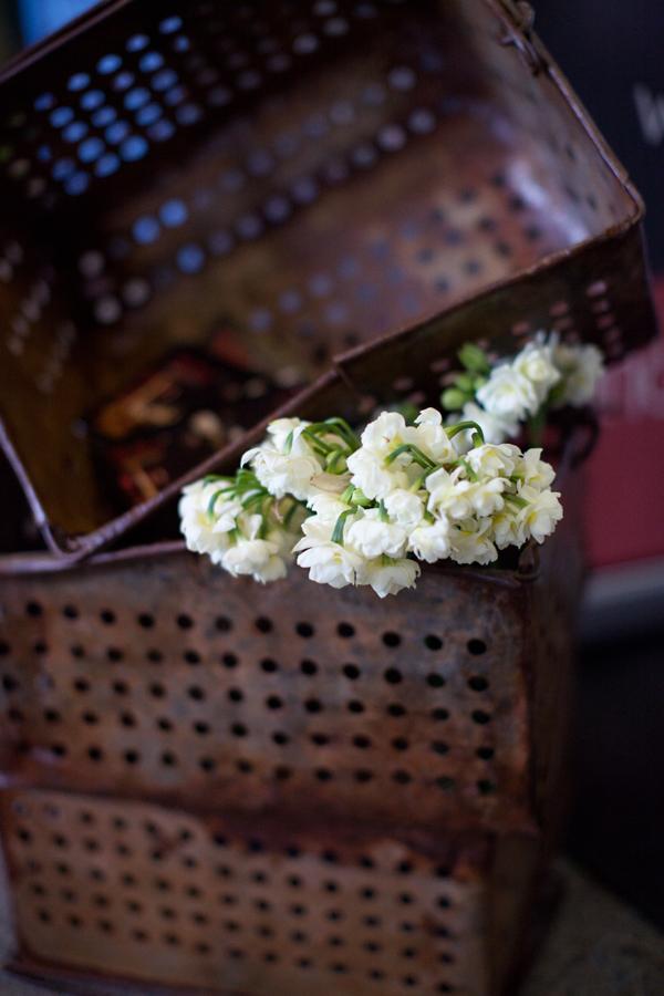 grape basket vintage rustic industrial flowers rust wedding