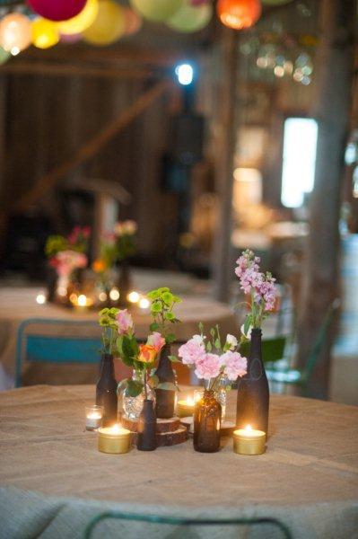 Rustic Barn Wedding Lanterns Festoon Lights Chandeliers (28)