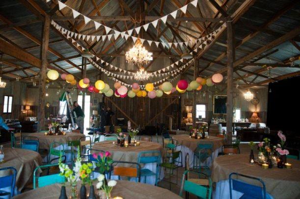 Rustic Barn Wedding Lanterns Festoon Lights Chandeliers (4)