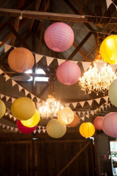 Rustic Barn Wedding Lanterns Festoon Lights Chandeliers (40)