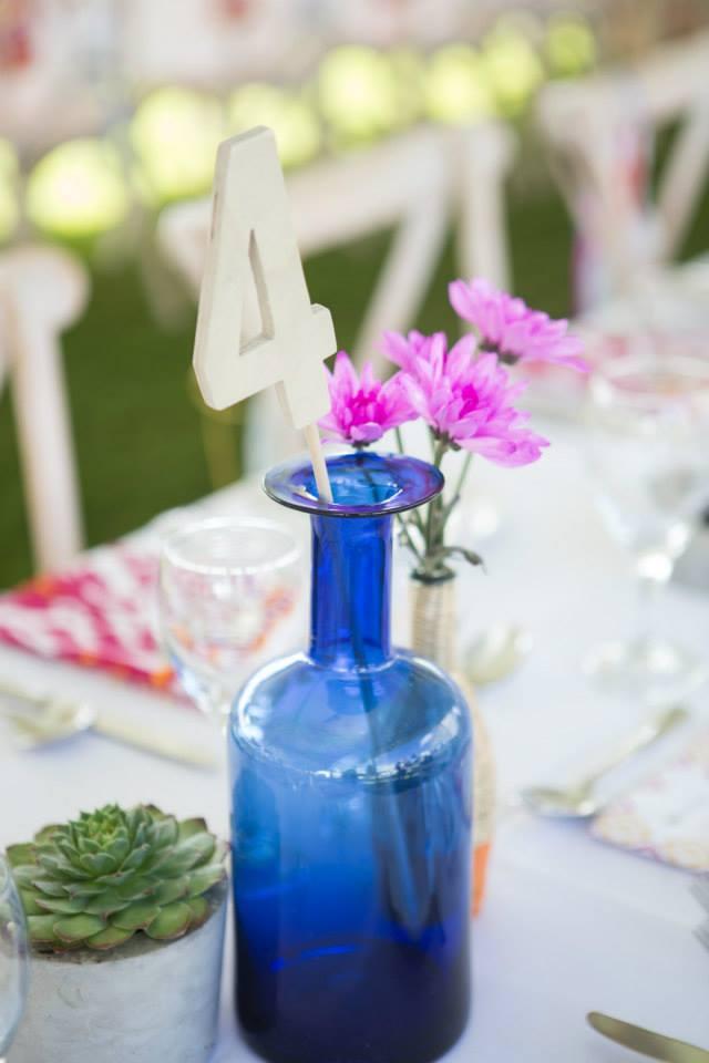 10 blue bottle wooden table number