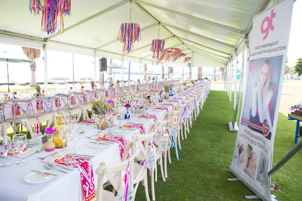 13 ribbon chandelier colourful longest lunch marquee