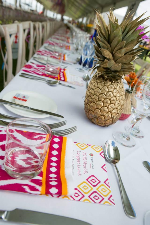 6 boho napkin gold pineapple